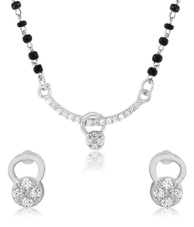 Mahi Rhodium Plated Frolicsome Mangalsutra Set with CZ Stones