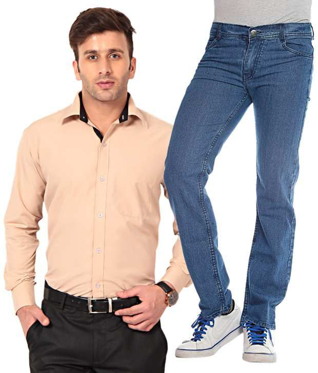 Spaky Combo Of 1 Beige Solid Shirt And 1 Blue Jeans