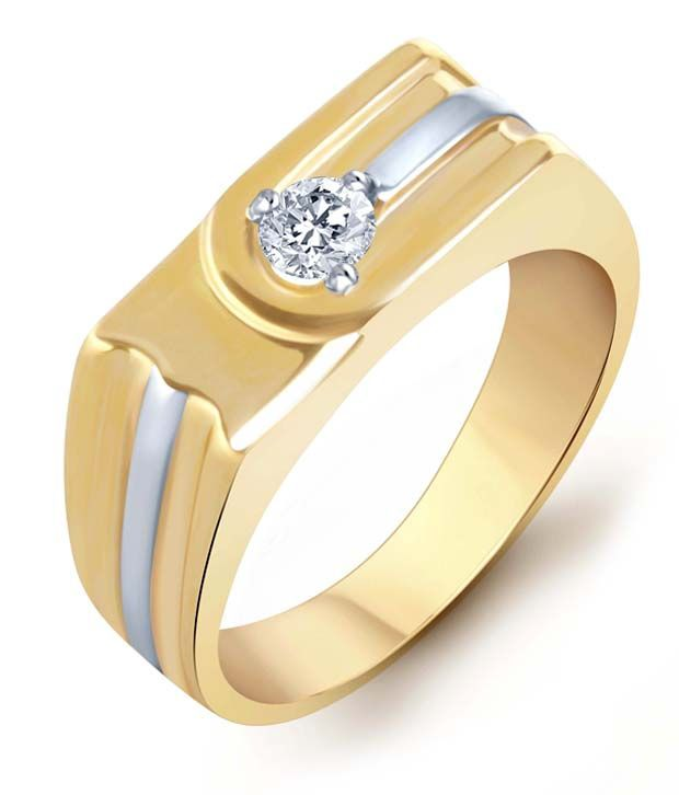 Sukkhi Gold and Rhodium Plated Solitaire CZ Ring for Men