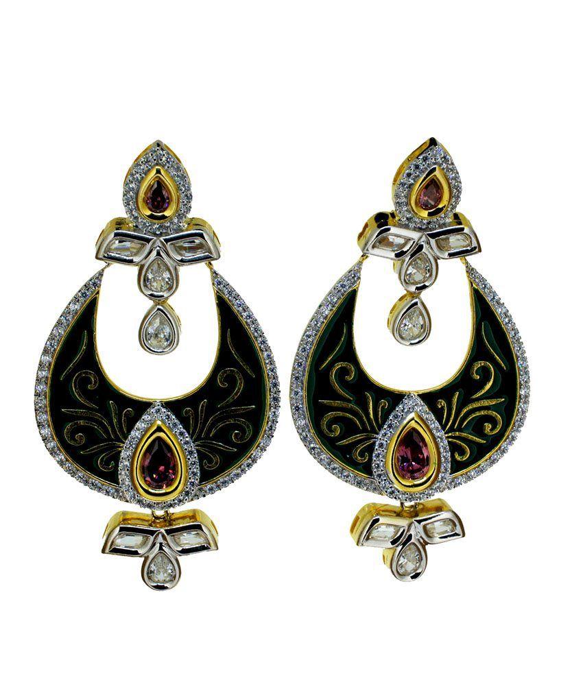 Aabhushan Jewels Color Stone American Diamond Earrings