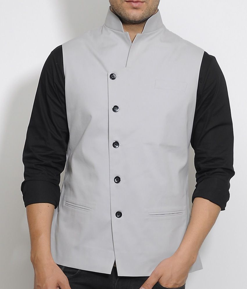 I Know Grey Tilted Placket Waist Coat