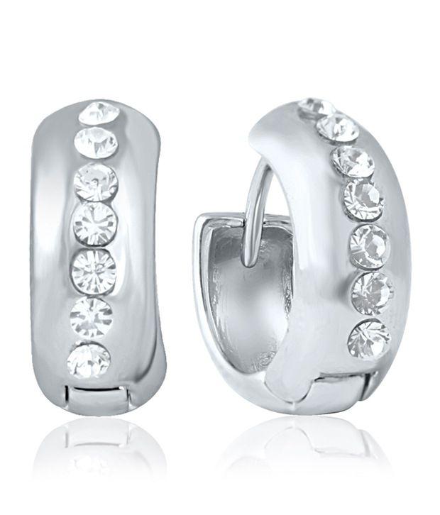 Mahi Rhodium Plated Brass Hoop Earring For Women ER1100181R