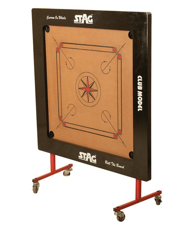 Stag Championship Model Carrom Board With Coins And Wheel Stand