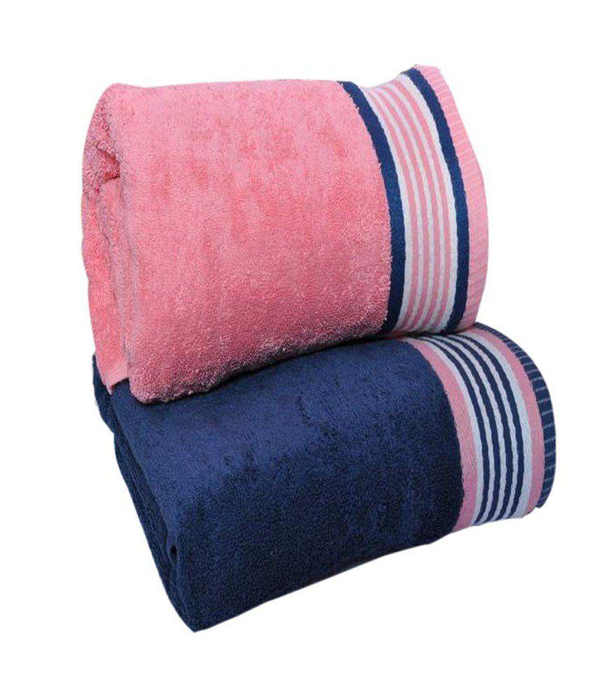 Trident Set of 2 Cotton Bath Towel - Blue & Pink - Buy Trident Set ...