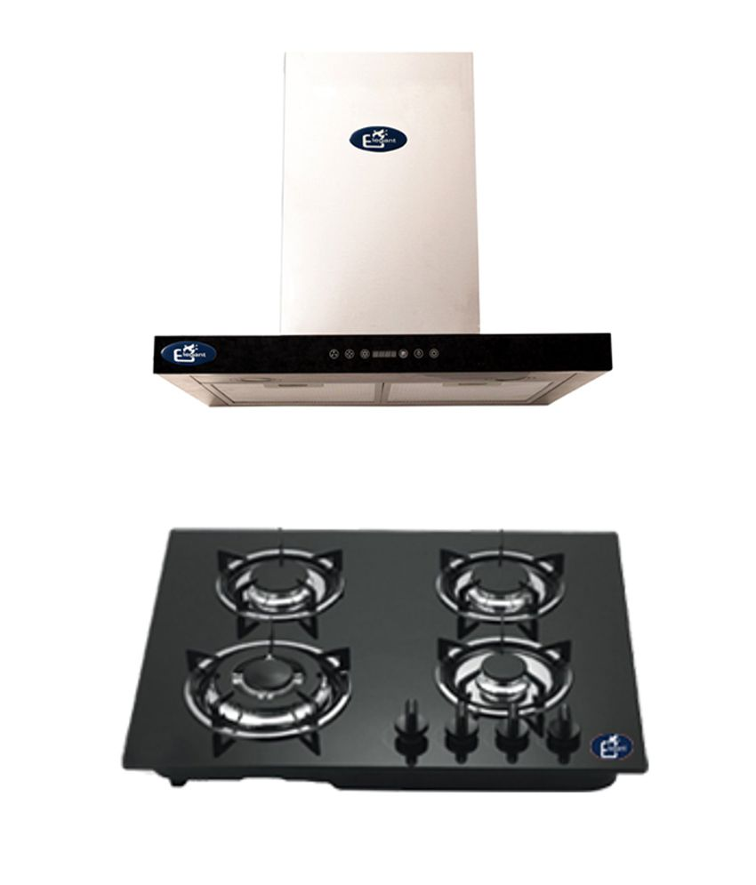Elegant 1100 Suction Chimney ELE-1010 (60 CM) +  Elegant 4 Burner