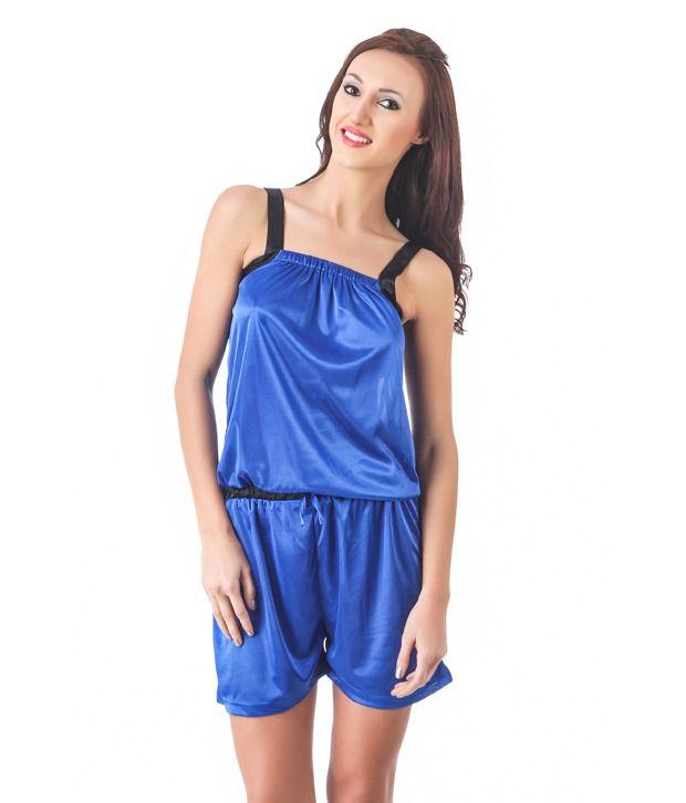 Fasense Blue Satin Jumpsuit