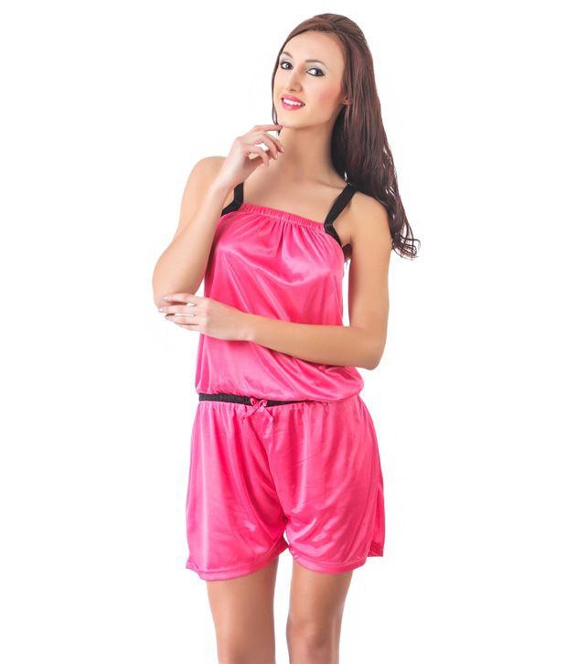 Fasense Pink Satin Jumpsuit