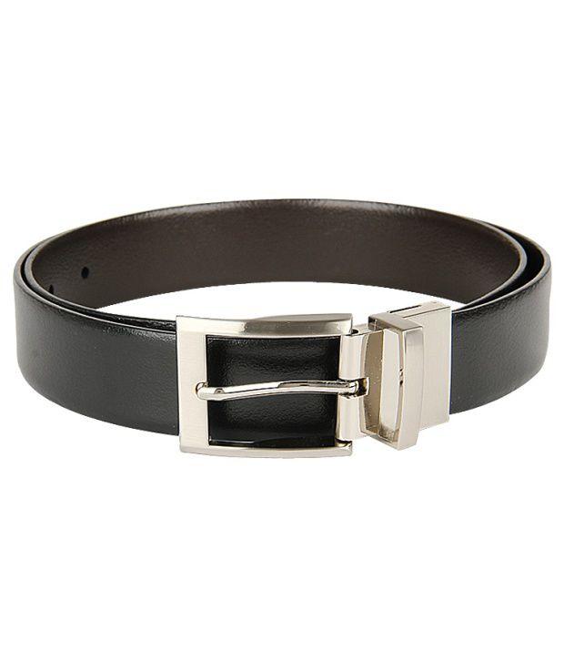 Lino Perros Plain Black Formal Single Belt For Men