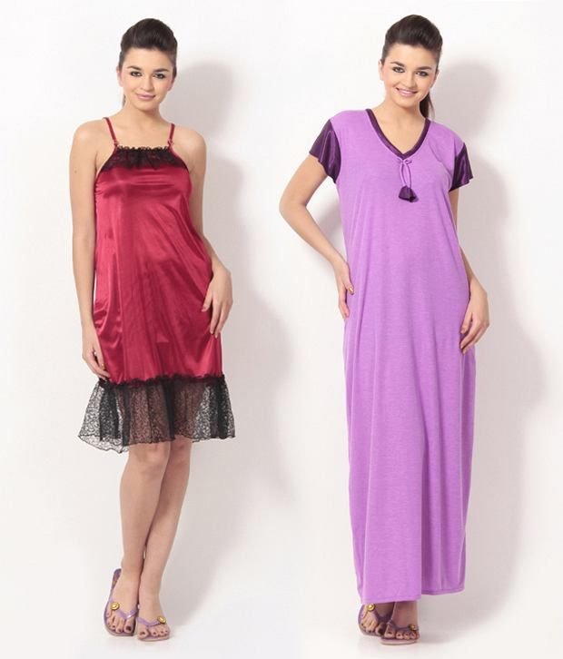 Buy Klamotten Red Satin Nighty & Night Gowns Pack of 2 Online at ...