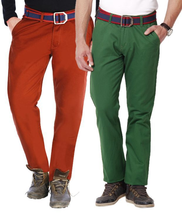 Uber Urban Green-Rust Brown Pack of 2 Cotton Chinos