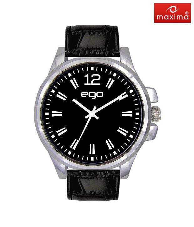Maxima Silver Case Black Strap Watch