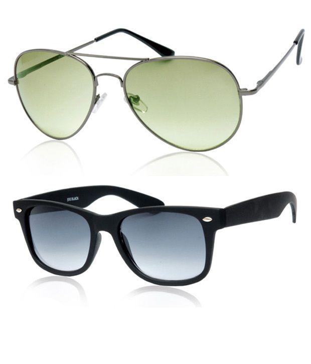 Joe Black Ultimate Grey-Green Aviator Buy 1 Get 1 Black Wayfarer Free