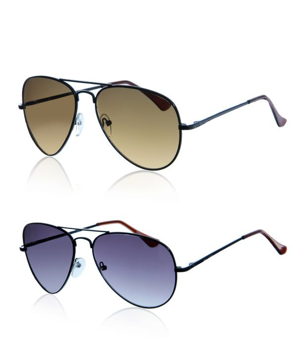 Just Colours Cool Brown Aviator Sunglasses - Buy 1 Get 1 Free