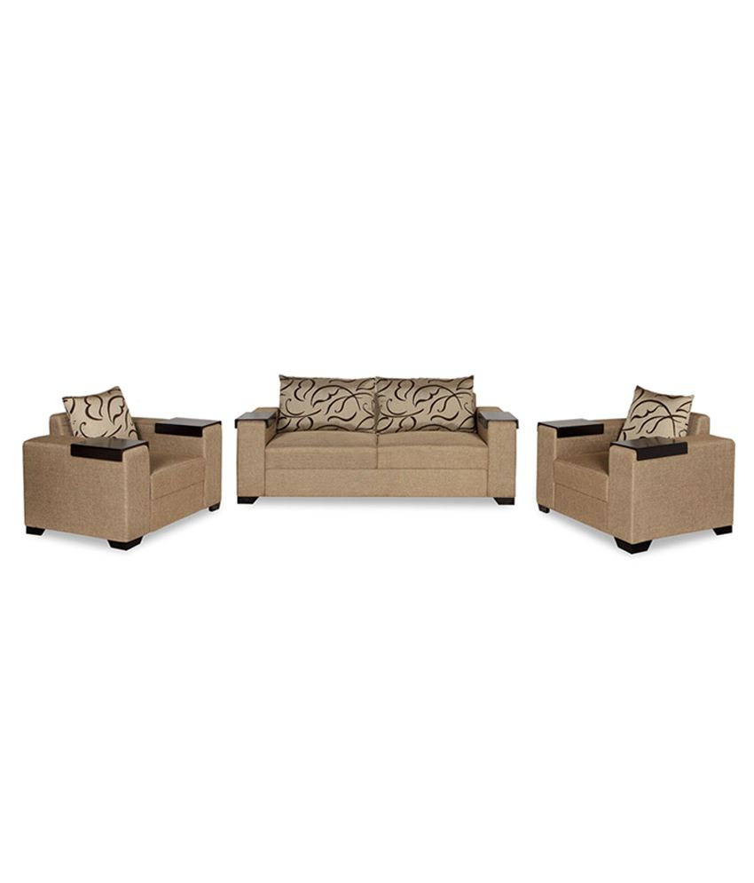 RUBY 3+1+1 SOFA SET WITH 5 BIG CUSHIONS & 6 LOSE WOODEN HANDLE