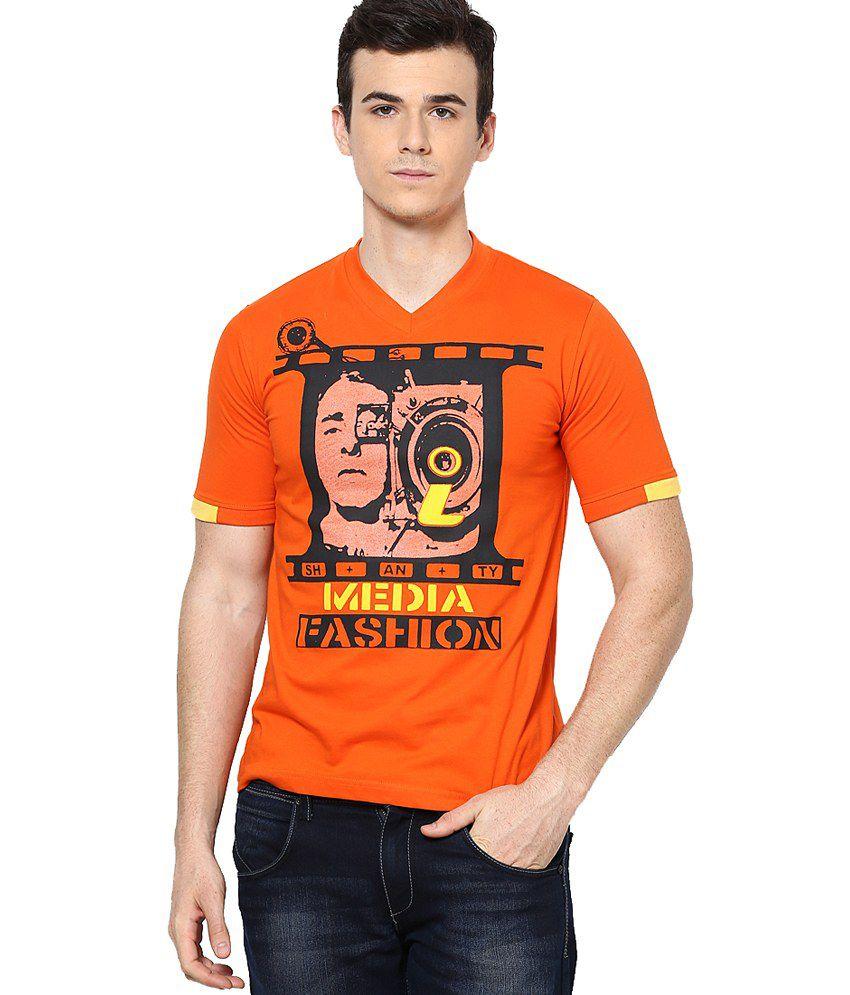 Shanty Orange Half Cotton V-Neck T-Shirt