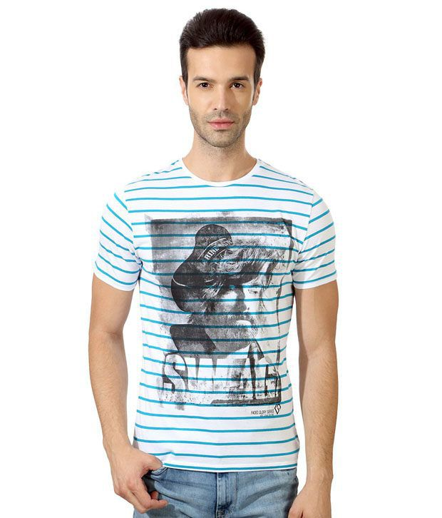 Van Heusen Blue Half Cotton High Neck  T-Shirt