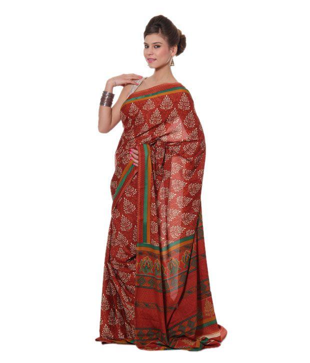 bdef7396f153d9 Aalya Brown Printed Saree With Unstitched Blouse Piece - Buy Aalya Brown  Printed Saree With Unstitched Blouse Piece Online at Low Price -  Snapdeal.com