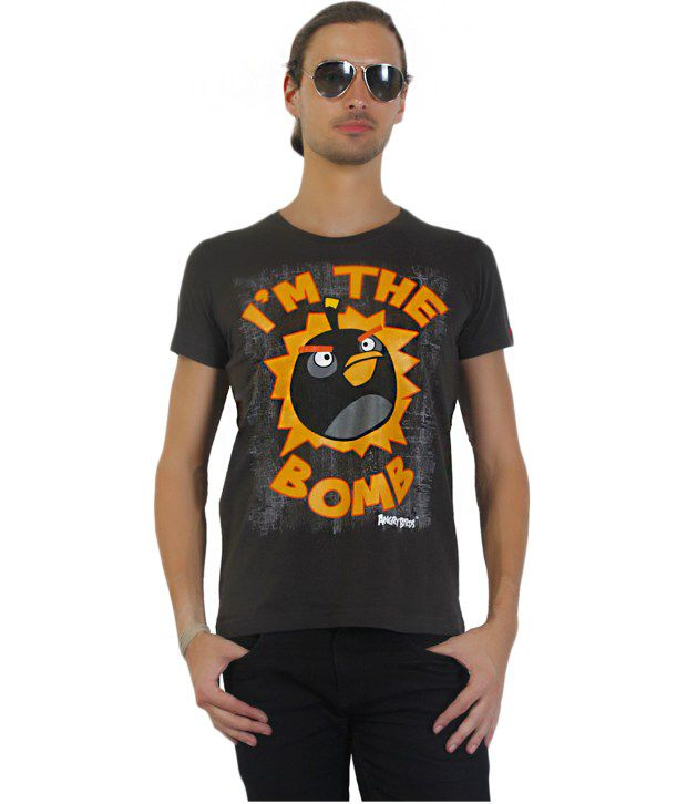 Angry Birds Gray Half Cotton Round   T-Shirt