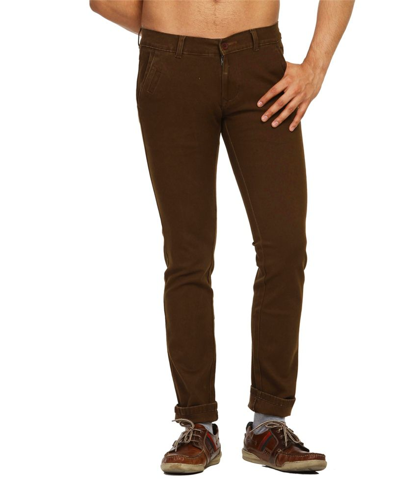 Fast N Fashion Brown Slim Casuals Solids