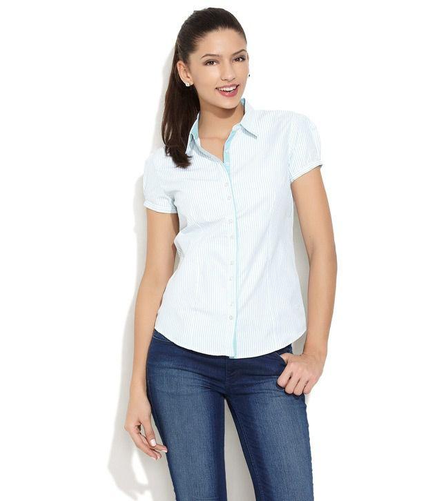 Scullers Blue Stripes Cotton Half Regular Collar Shirts