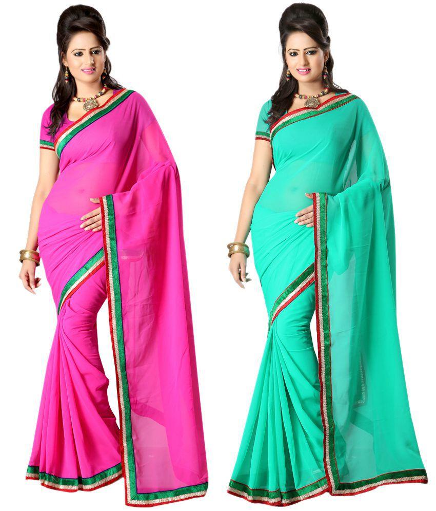 Ansu Fashion Multi Color Border Work Faux Georgette Saree