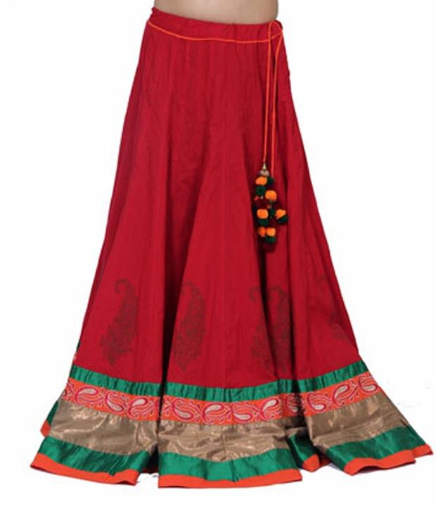 Buy Chhipa Red Embroidered Cotton Long Skirt Online at Best Prices ...