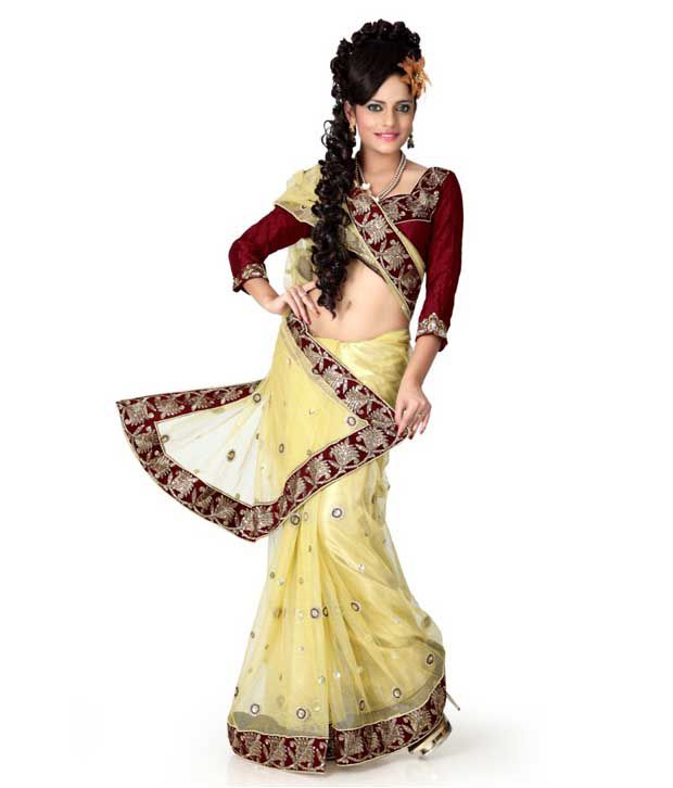 Designer Sarees Yellow Net Saree