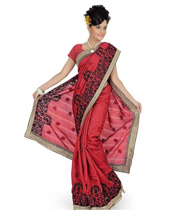 Designersareez Red-Black Embroidered Art Silk Saree