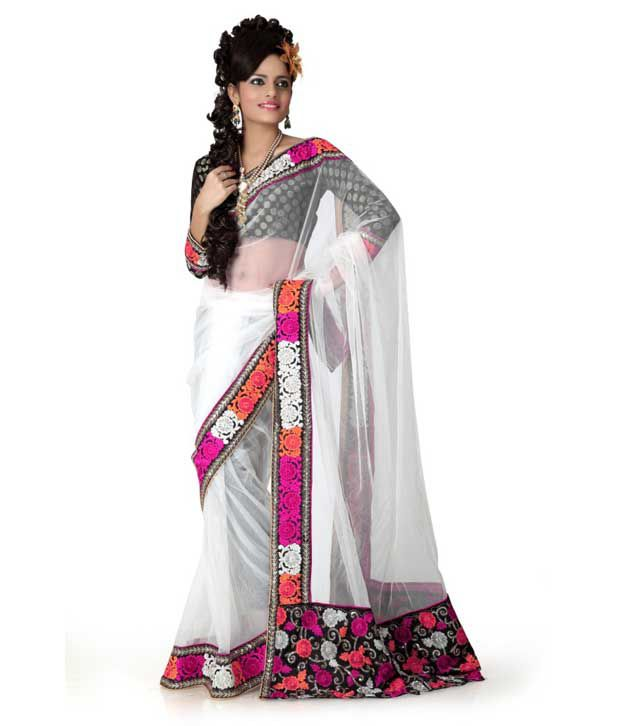 Designer Sarees White Net Saree