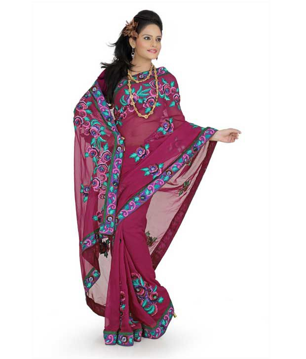 Designer Sarees Purple Georgette Saree
