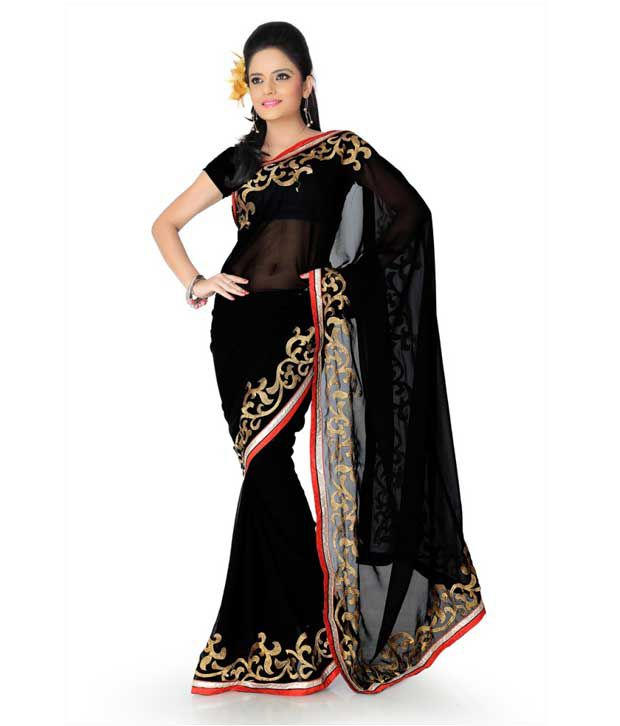 Designer Sarees Black Georgette Saree