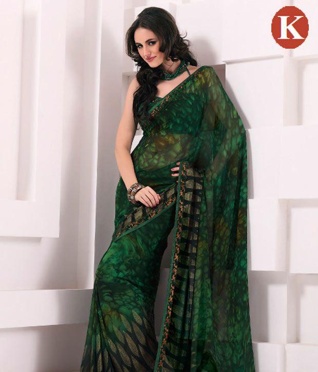 8f370305fcc255 Khazana Dark Green Georgette Saree - Buy Khazana Dark Green Georgette Saree  Online at Low Price - Snapdeal.com