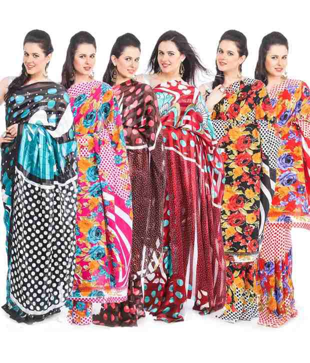 Pack of Six Printed  Saree Combo
