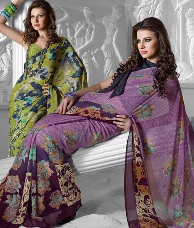 Prafful Purple & Mehandi Green Saree Combo With Unstitched Blouses