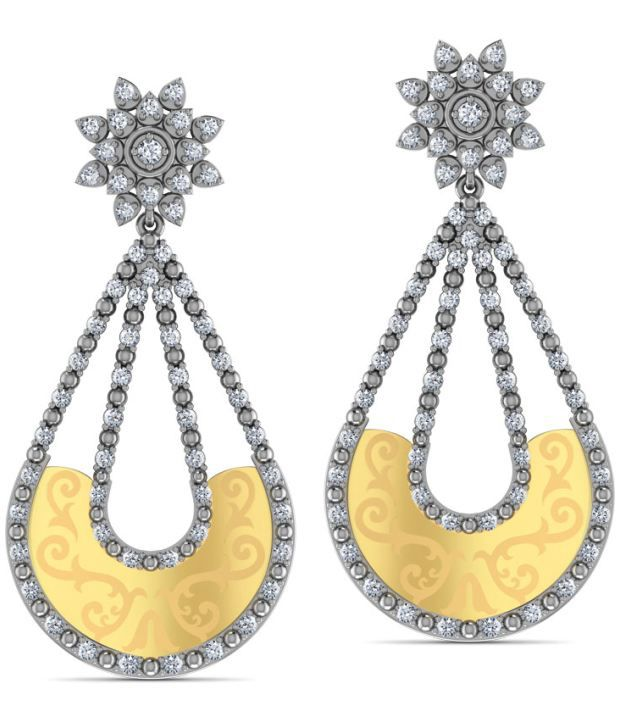 Caratlane Cascading Drop 18 Kt Certified, Real Diamond & Hallmarked Gold Earring