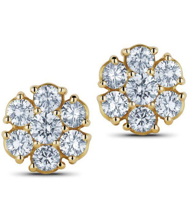 Caratlane Classic Seven-stone 18 Kt Certified, Real Diamond & Hallmarked Gold Earring