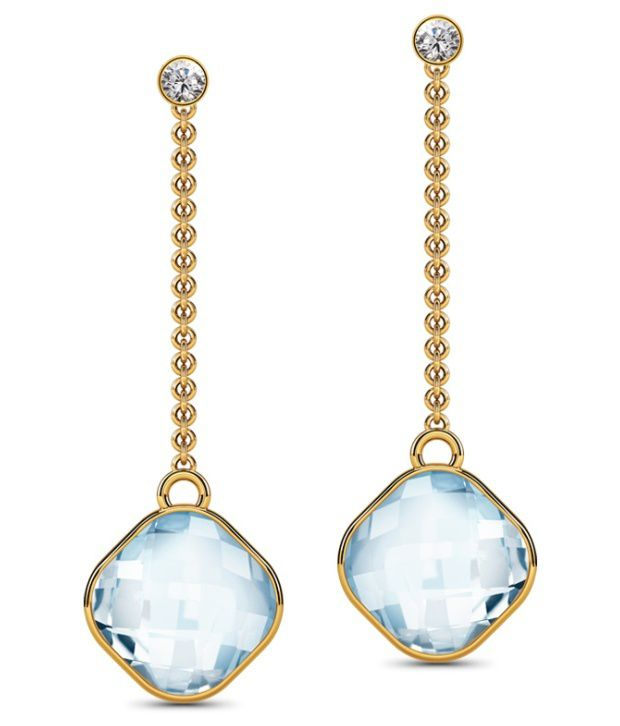 Caratlane Dazzle Topaz Blue 18 Kt Certified, Real Diamond & Gemstone & Hallmarked Gold Earring