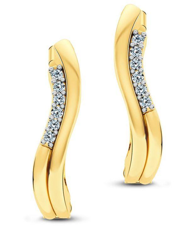 Caratlane Divine Huggies 18 Kt Certified, Real Diamond & Hallmarked Gold Earring