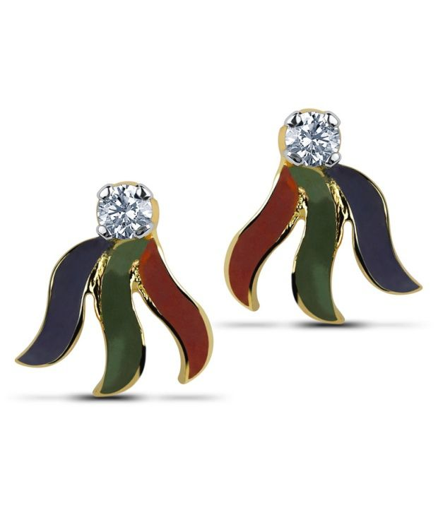 Caratlane Hamesha Tri-colour 18 Kt Certified, Real Diamond & Hallmarked Gold Earring