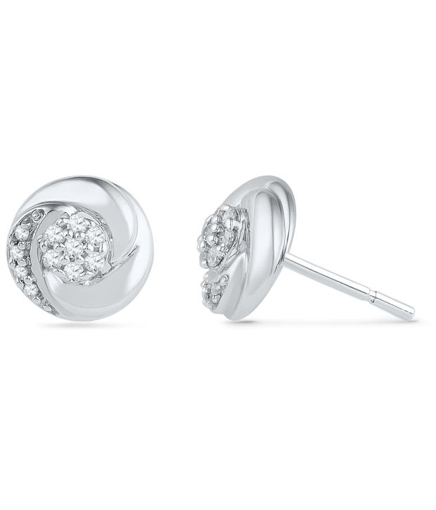 Caratlane Heaven Dots 92.5 Silver Certified, Real DiamondEarring