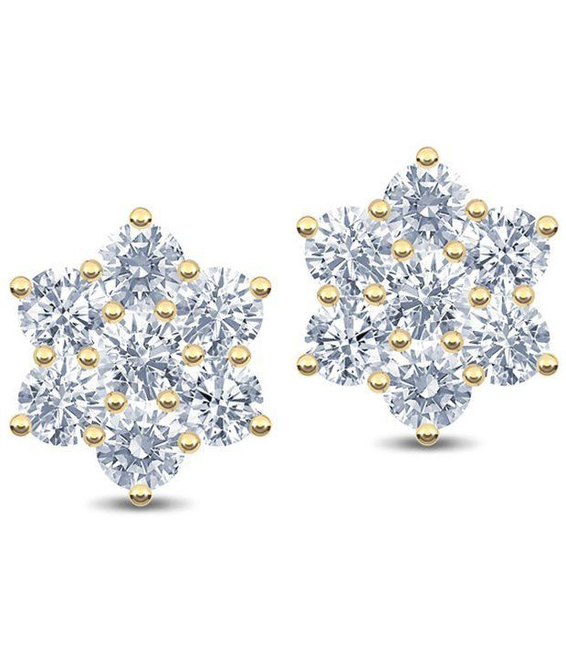 Caratlane Snowflake 7 Stone 18 Kt Certified Real Diamond Hallmarked Gold Earring