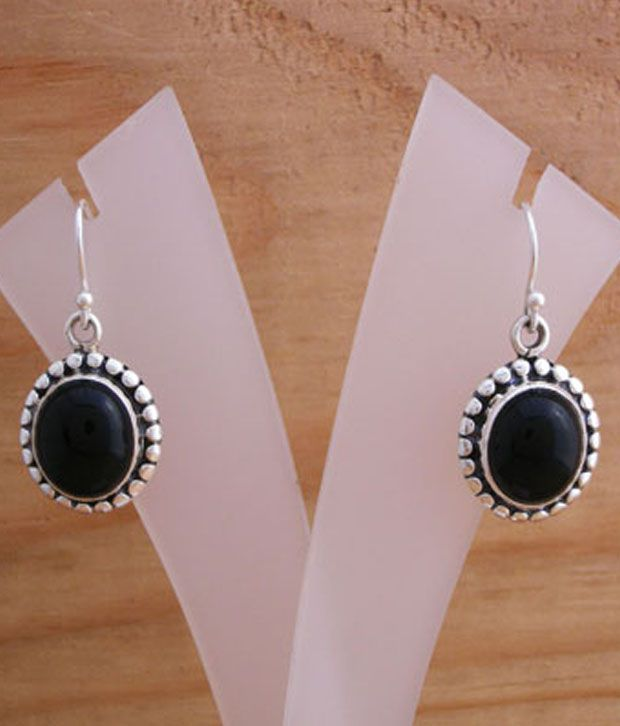 Designer Silver Black Onyx Adorned Silver Earrings