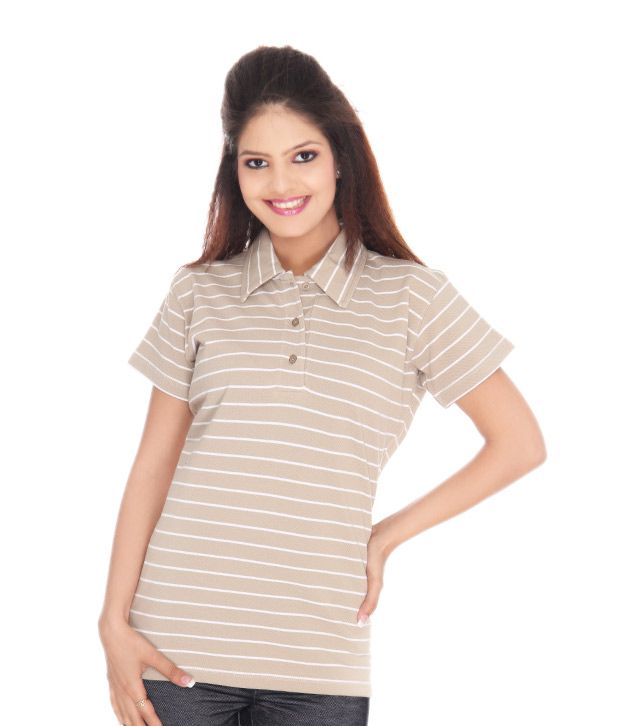 Finesse Polo T - Shirt in Beige Stripe - FPT 04