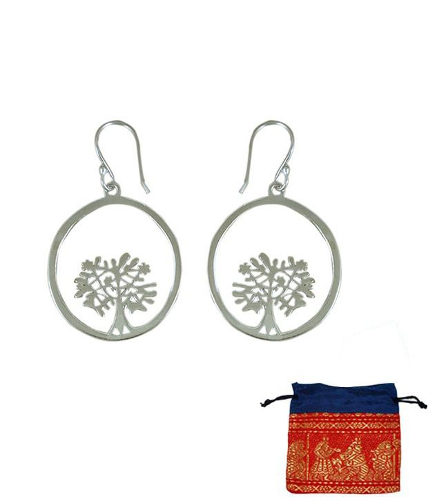 Indian Silver Circular Silver Earrings With Free Jewellery Pouch
