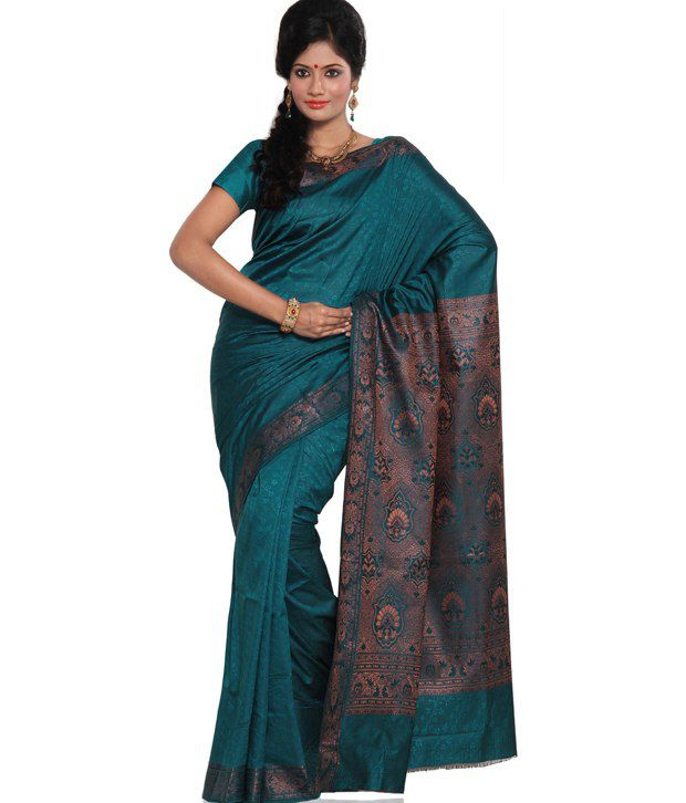 a2b06b20518558 Peacock Blue Art Silk Saree with Blouse - Buy Peacock Blue Art Silk Saree  with Blouse Online at Low Price - Snapdeal.com