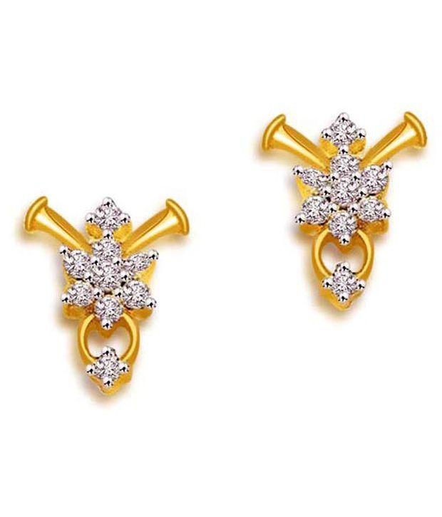 257714c2e7e9 Surat Diamond Gold   Diamond Flower Design 18K Diamond Earrings  Buy Surat  Diamond Gold   Diamond Flower Design 18K Diamond Earrings Online in India  on ...