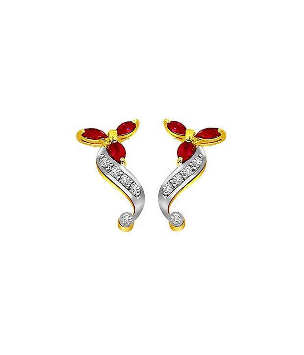 Surat Diamond Swirly Ruby Earrings