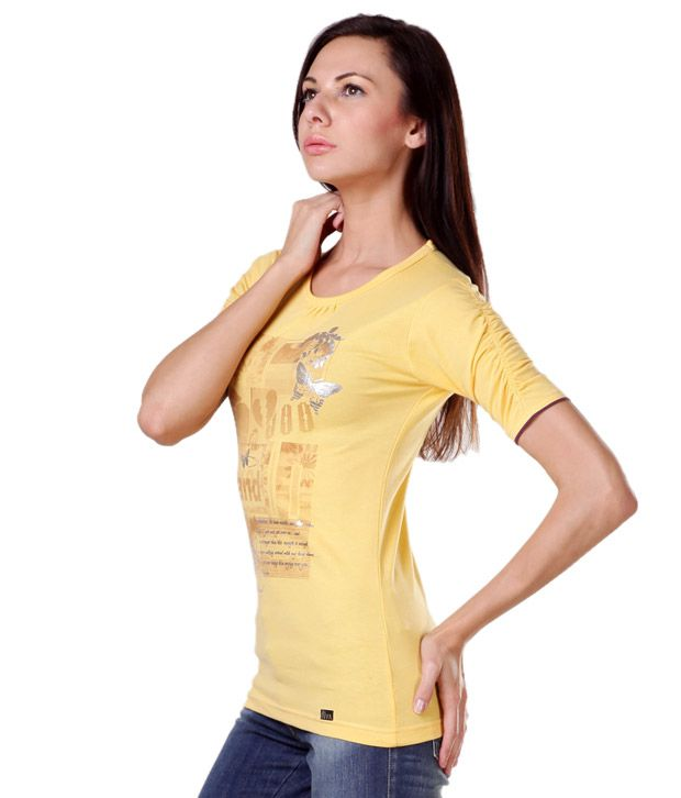 Aiva Appealing Yellow Printed T-Shirt