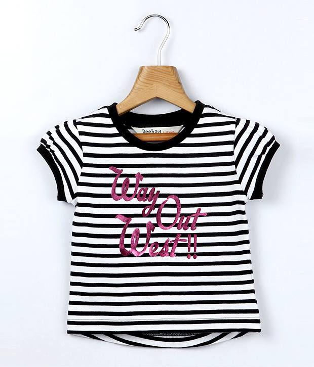 Beebay Short Sleeves Black Color Striper Top For Kids