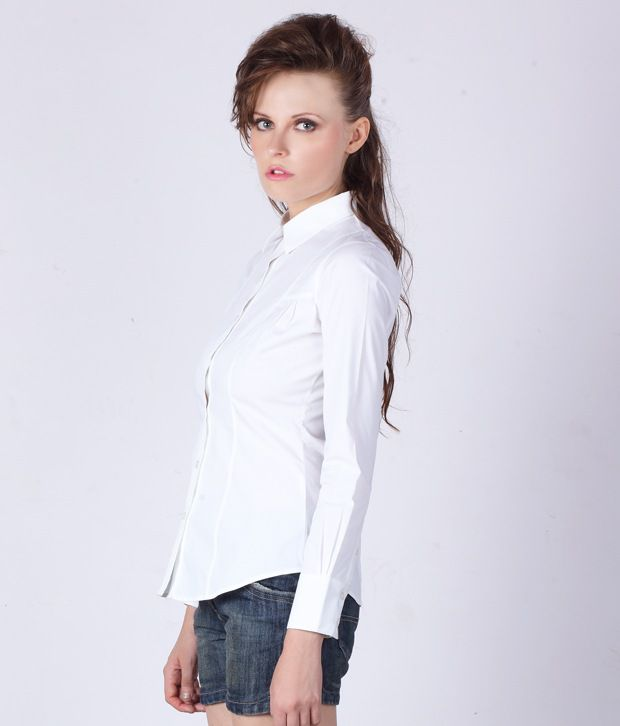 df6f47b9 ... Colormode White Full Sleeve Formal Shirt With Pleat Detail ...